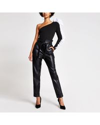 River Island One Shoulder Frill Sleeve Bodysuit - Black