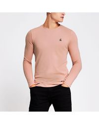 River Island R96 Pink Muscle Fit Long Sleeve Pique T-shirt