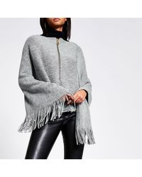 River Island Asymmetric Zip Front Knitted Cape - Gray