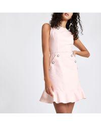River Island - Light Pink Diamante Button Bodycon Dress - Lyst