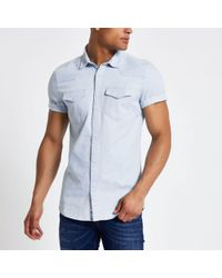 River Island - Blue Western Style Slim Fit Denim Shirt - Lyst