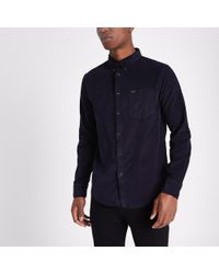 River Island - Lee Navy Cord Button-down Oxford Shirt - Lyst