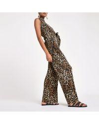 River Island - Leopard Print Pleated Wide Leg Trousers - Lyst