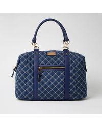River Island Blue Quilted Denim Weekend Bag