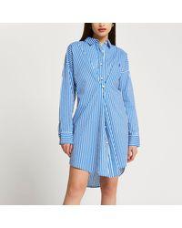 River Island Blue Stripe Twist Front Longline Shirt