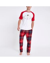 River Island 'venti' Tartan Check Pajama Set - Red