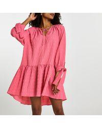 River Island Pink Textured Tie Neck Smock Dress