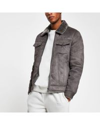 River Island Grey Borg Lined Faux Suede Western Jacket