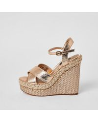 River Island Gold Wide Fit Embellished Wedge Sandals - Metallic
