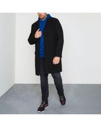 River Island - Big And Tall Black Smart Overcoat - Lyst