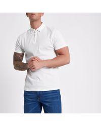 6637ec3d River Island Black Contrast Collar Long Sleeve Polo Shirt in Black ...