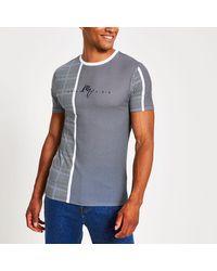 River Island Maison Riviera Blue Muscle Fit Check T-shirt