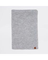 River Island - Grey Rib Knitted Scarf - Lyst