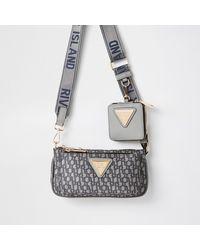 River Island Grey Pouchette Ri Monogram Cross Body Handbag