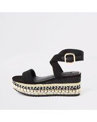River Island Black Espadrille Wedge Flatform Sandals