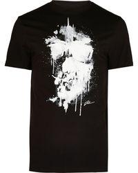 River Island Big & Tall Black Skull Slim Fit T-shirt
