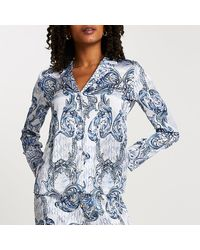 River Island Blue Ri Ornate Printed Pajama Shirt