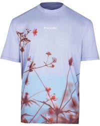 River Island - Blue Floral Print Short Sleeve T-shirt - Lyst