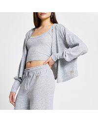 River Island Gray Ribbed Lounge Cardigan And Vest