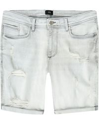 River Island Big & Tall Grey Ripped Skinny Denim Shorts
