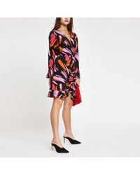 River Island - Pink Print Ruched Wrap Front Dress - Lyst
