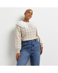 River Island Plus Pink Check Oversized Collar Jumper