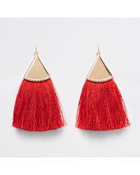 River Island - Red Tassel Drop Earrings Red Tassel Drop Earrings - Lyst