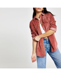River Island Cord Long Sleeve Boyfriend Shirt - Pink