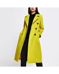 River Island Yellow Slouch Long Line Coat