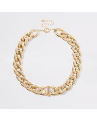 River Island Colour Chunky Chain Ri Necklace - Metallic