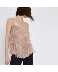 River Island - Pink Beaded Cami Top - Lyst