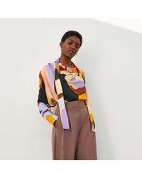 River Island Orange Ri Studio Printed Cowl Tie Neck Blouse
