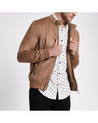 River Island - Tan Faux Suede Racer Neck Jacket - Lyst