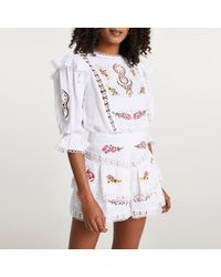 River Island White Embroidered Frill Detail Layered Shorts