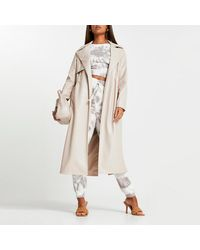 River Island Stone Faux Leather Trench Coat - Natural