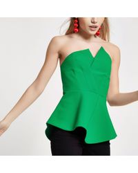 River Island - Petite Green Structured Bardot Top - Lyst
