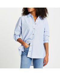 River Island Blue Oversized Jewelled Button Shirt