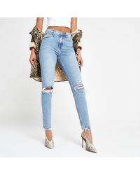 River Island - Mid Blue Original Skinny Ripped Jeans - Lyst