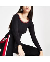 River Island - Black Ribbed Tipped Bodysuit - Lyst