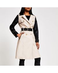 River Island Petite Faux Leather Blocked Trench Coat - Natural