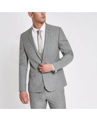 River Island - Grey Check Skinny Fit Suit Jacket - Lyst