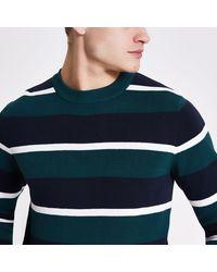 Jack & Jones Green Stripe Knit Jumper