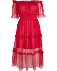 River Island Petite Bardot Tiered Midi Dress - Pink