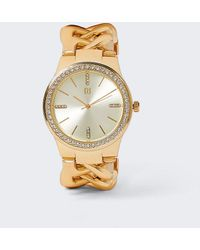 River Island Gold Color Chain Bracelet Watch - Yellow