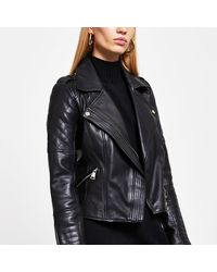 River Island Black Leather Quilted Biker Jacket
