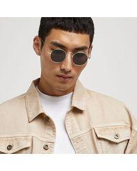 River Island Frame Round Sunglasses - Metallic