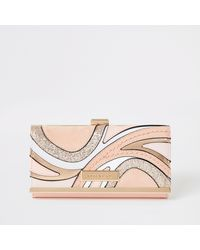 River Island Pink Glitter Swirl Cutabout Cliptop Purse