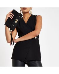 79fc898829be3 River Island Black Twist Neck Layered Front Sleeveless Top in Black ...