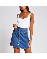 River Island Blue Button Front Denim Mini Skirt