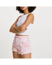 River Island Pink Space Tie Dye Shorts